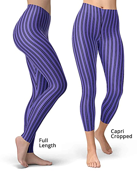 Classic Pinstripe Leggings - Full Length or Capri Legging - Blue, Red, Black, Purple