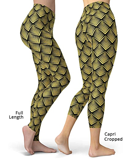 Artsy art deco gold leggings