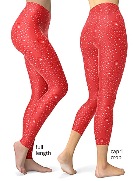 water drop wet look rain drops leggings red or blue capri crop or full length