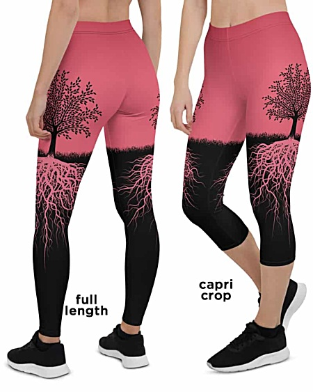 Pink Tree of Life Yoga Leggings - Tree Root