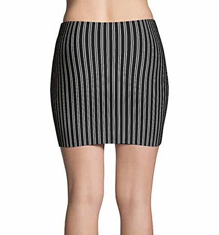 Black and white pin striped mini skirt