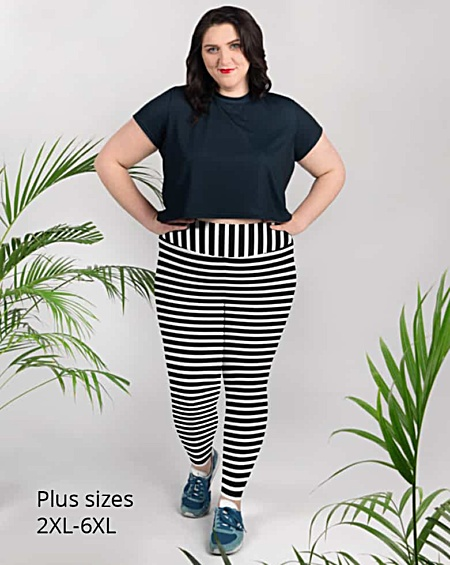 Horizontal Striped plus size Leggings - Full length or capri crop legging - Black & White, Pink, Red, Blue, Orange for Halloween
