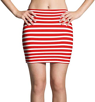 Thinning horizontal striped mini skirt