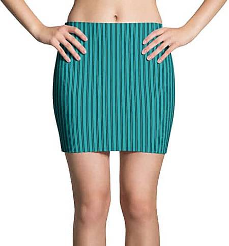 Turquoise pinstriped mini skirt