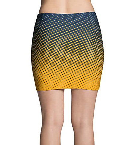 Halftone Multicolored Cool Mini Skirt - Blue & Gold