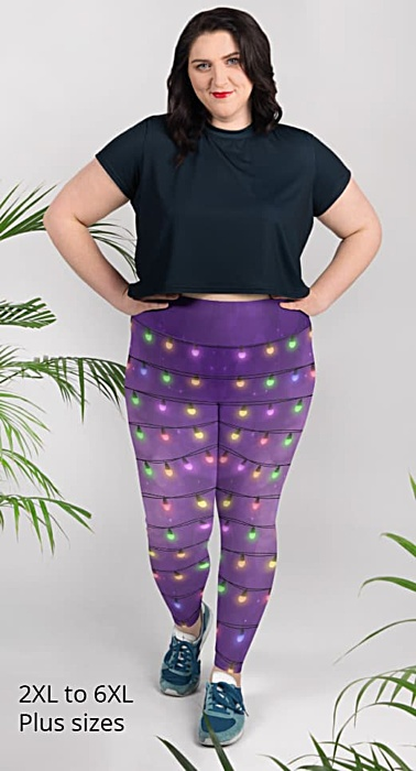 Sparkle Christmas Lights - Holiday Leggings - plus size leggings