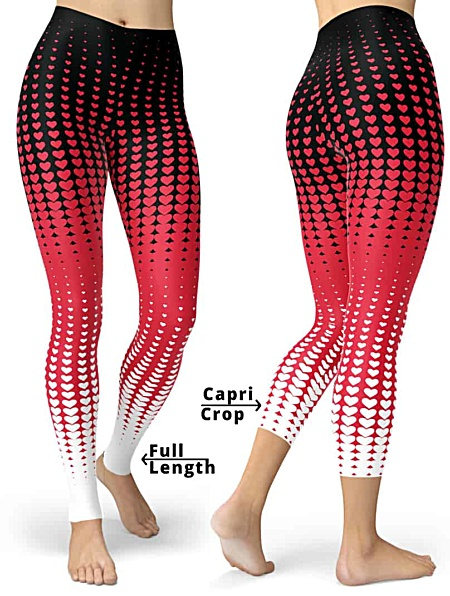 Valentines Day Leggings - Halftone Pattern Leggings - Pink Red Black