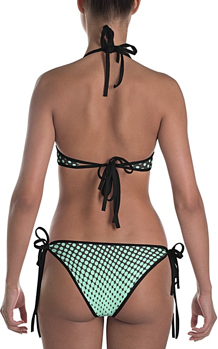 blue & lime polka dot bikini bathing suit two piece - halftone swimsuit