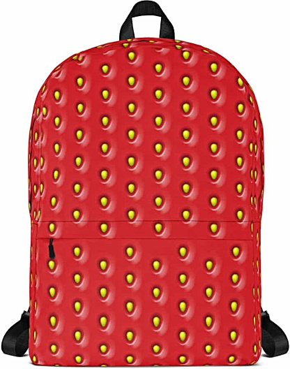 Red strawberry textured backpack