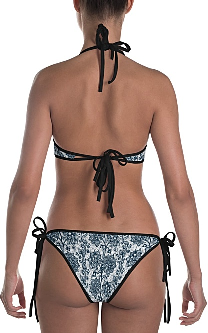 red or black and white lace bikini reversable bathing suit