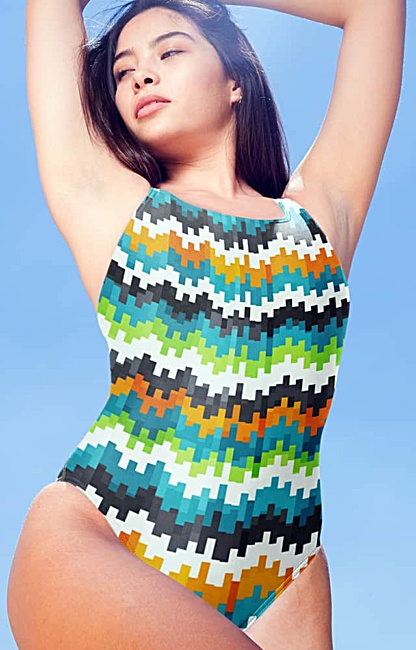 blue orange abstract one piece bathing suit swimsuit