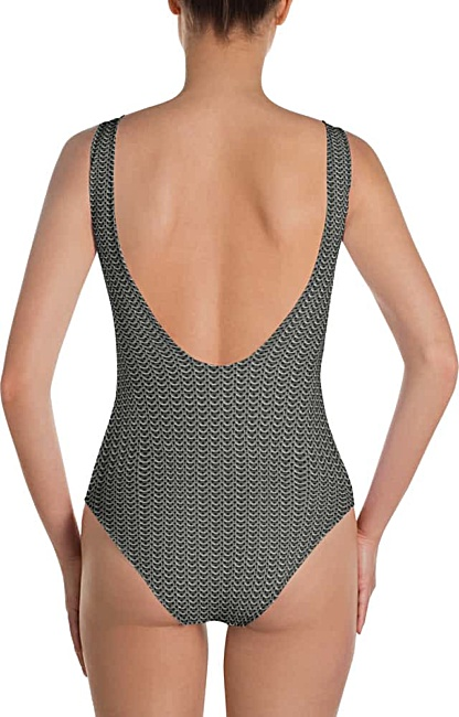 Metal Metallic chain mail chainmail one piece bathing suit swimsuit