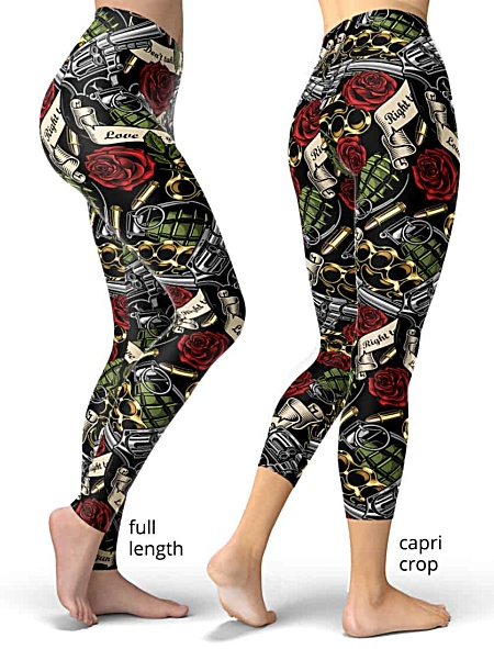 gun rights second amendment right to bear arms leggings exercise tights women's grenade rose gun guns weapons