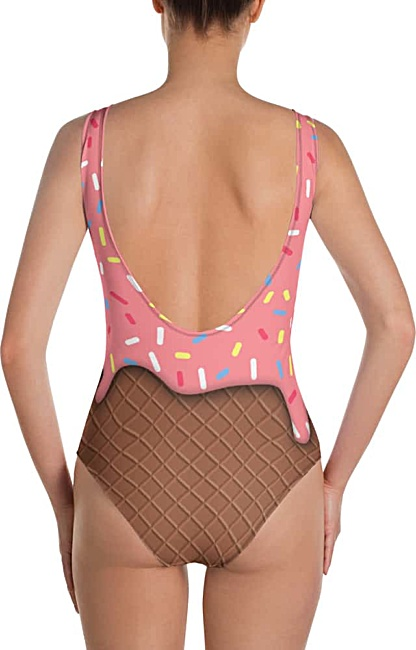 Costume Fancy Dress Strawberry Ice Cream with Sprinkles Cone Bathing Suit Swimsuit One Piece