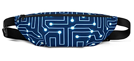 blue electronic electric computer circuit board bumbag bumbag bag hip packs fanny pack belt