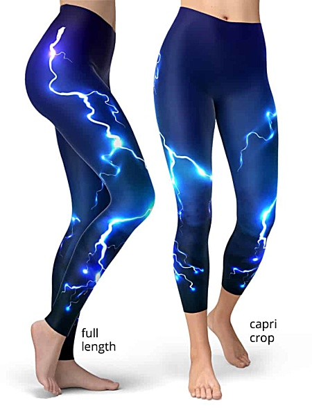 lightening leggings thunderbolt rod fire sky storm blue purple bolt