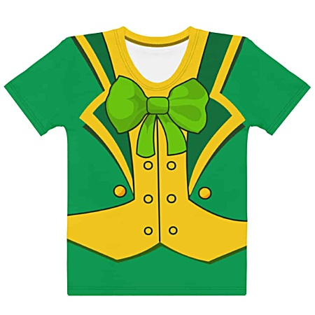 Women's girls Green St Patrick's Day Leprechaun Suit T-shirt- Men's Short Sleeve
