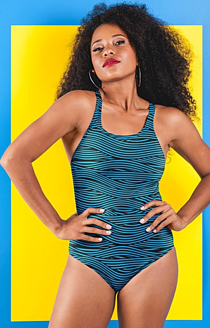 Bandage Stripe One Piece Bathing Suit black white blue pink