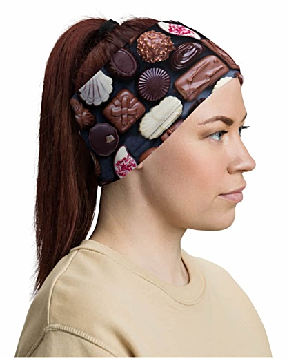Assorted Chocolates Face Mask Neck Gaiter chocolate brown candy sweets valentine chocoholics