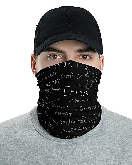Einstein Relativity Theory & Quantum Mechanics Face Mask Neck Gaiter headband bandana