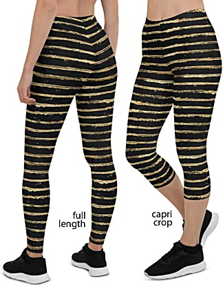 Glittery Gold Painted Stripe Leggings glamorous designer trendy glitter painted black golden
