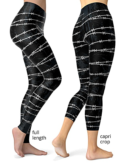 Barbed Wire Leggings black gothic cool designer pants exercise pant