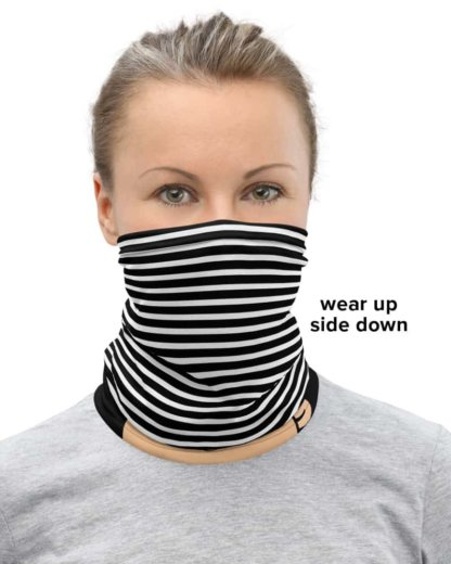 Picking My Nose Face Mask Neck Gaiter booger eater picker stripe stripes black and white persons of color