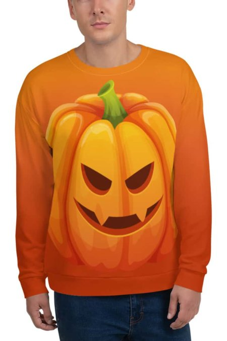 Orange Halloween Pumpkin Sweatshirt / Unisex Size costume vegetable