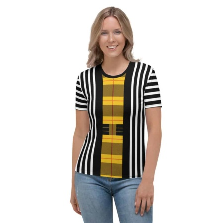 Plaid Striped T Shirt / Women's Short Sleeve Top